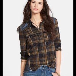 3/15 Free People Road Trip Getaway flannel button